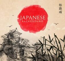 手绘日本景观背景