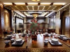 餐厅花格吊顶3d模型下载