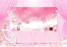 粉色系婚礼签到区