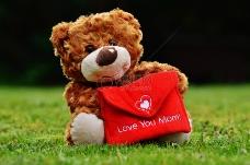 抱着贺卡的泰迪熊