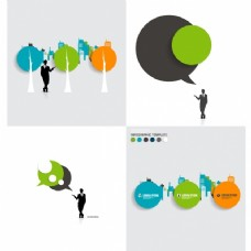 商人的信息图表讲话泡沫