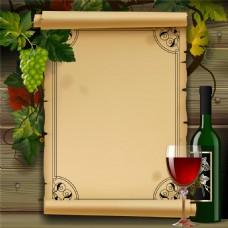 怀旧卡片和红酒图片