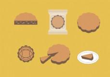 月饼矢量插图