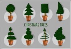 不同的圣诞树矢量自由设定