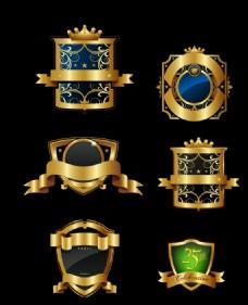 金色盾形标签