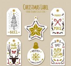 美丽的金色细节圣诞贴纸