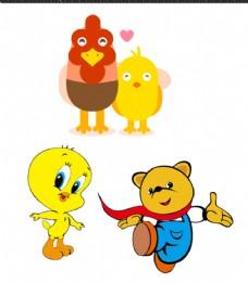 卡通小鸟 公鸡 小熊