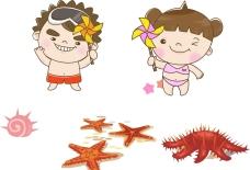 夏季儿童 海五星