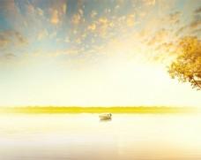 秋天海景湖景图