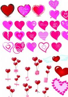 心型花纹图案元素矢量图