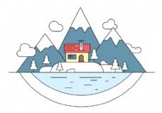 雪景岛矢量插画