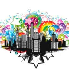 城市彩虹矢量图标背景