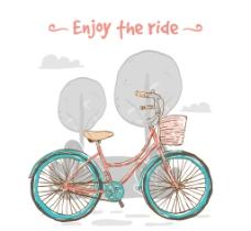 手绘可爱自行车老式背景