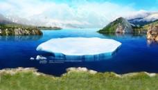 唯美湖泊淘宝背景