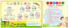 幼儿园卡通专业洗手七步法展板
