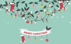 带丝带圣诞饰品背景