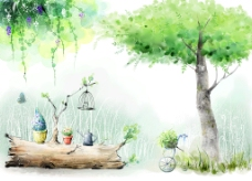 手绘树背景墙