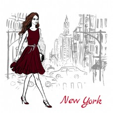 城市插画与美女插画图片