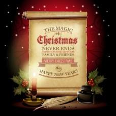 圣诞纸张装饰背景设计