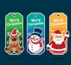 三个彩色标签圣诞吊牌