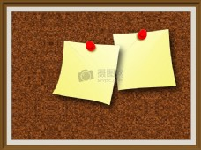 棕色软木墙上的便签