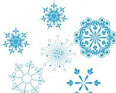 蓝色雪花素材