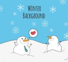 手绘雪人的爱背景