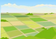 稻田景观矢量图