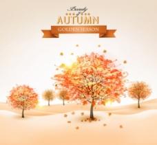 美丽的秋天树背景矢量免费