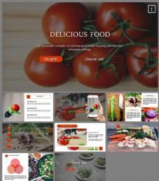 欧美餐桌食物果蔬摄影PPT模板