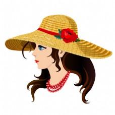 戴草帽的女孩插画