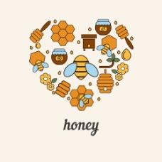 心形蜂蜜图片