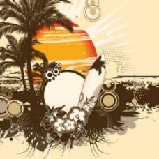 一款非常复古的夏天插图背景海报