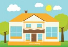 可爱的平面风格的房子插图