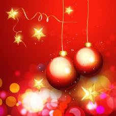 豪华的装饰品和圣诞背景散景光