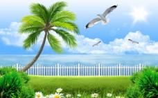 海边风景客厅背景