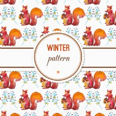 水彩冬季图案与松鼠