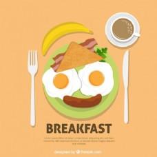 愉快的脸由早餐食品