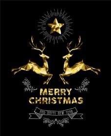 金色麋鹿圣诞背景图片