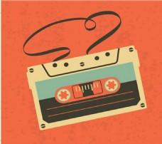 古董音频卡带磁带孤立的橙色背景自由向量