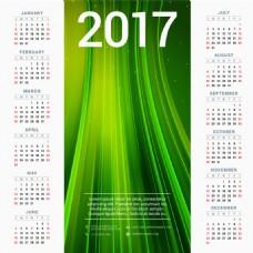 綠色線條2017年日歷表圖片