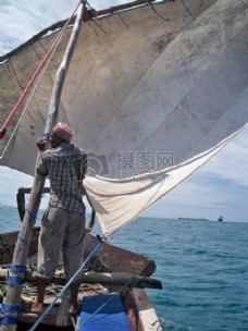 捕鱼,海,船,帆船,桑给巴尔