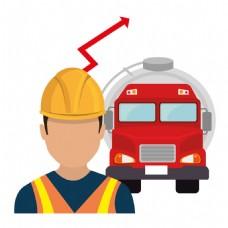 石油工人和红色汽车图片