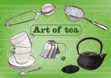 茶矢量背景的自由艺术
