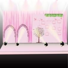 粉色浪漫迎宾区效果图PSD分层照片墙设计
