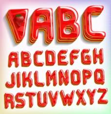 26个红色果冻字母矢量素材