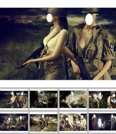 二战美女士兵ppt背景图片