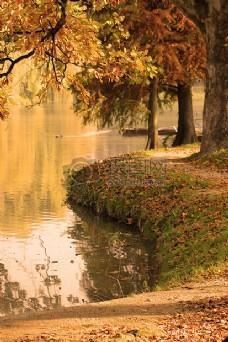 秋季的湖水岸边