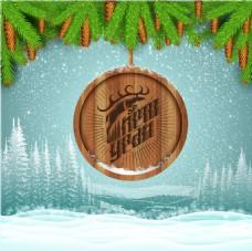 精美圣诞节木板广告矢量素材设计
