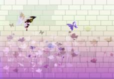 3D墙砖花朵蝴蝶背景墙